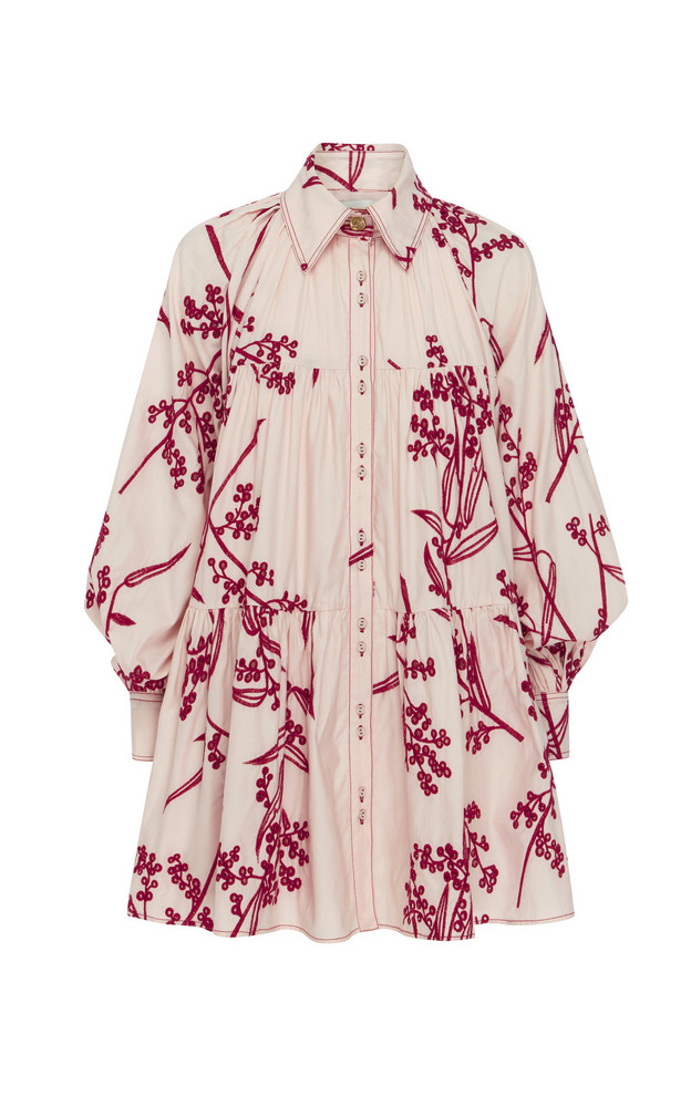 Aje Banksia Printed Cotton Mini Dress Size: 4 in pink