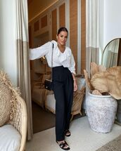 top,white blouse,h&m,black pants,high waisted pants,slide shoes