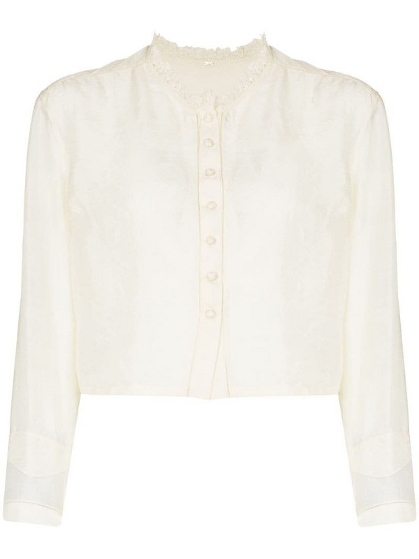 MIMI PROBER Edith button-up blouse in neutrals