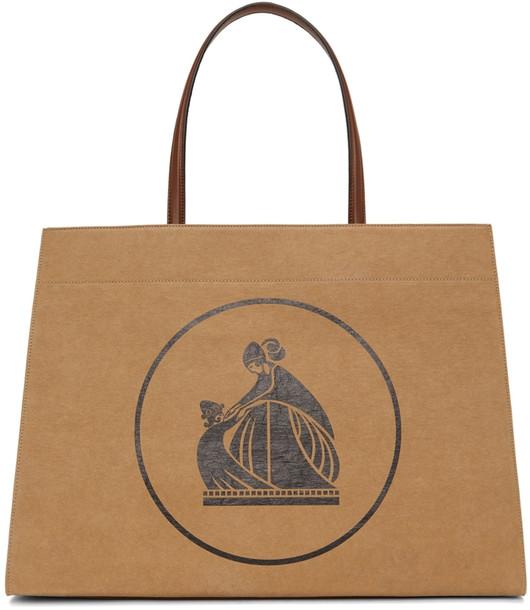 Lanvin Tan Medium Cabas Kraft Paper Bag in black / ecru