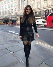 skirt,leather skirt,black skirt,mini skirt,high waisted skirt,over the knee boots,black boots,tights,gucci bag,black bag,black turtleneck top