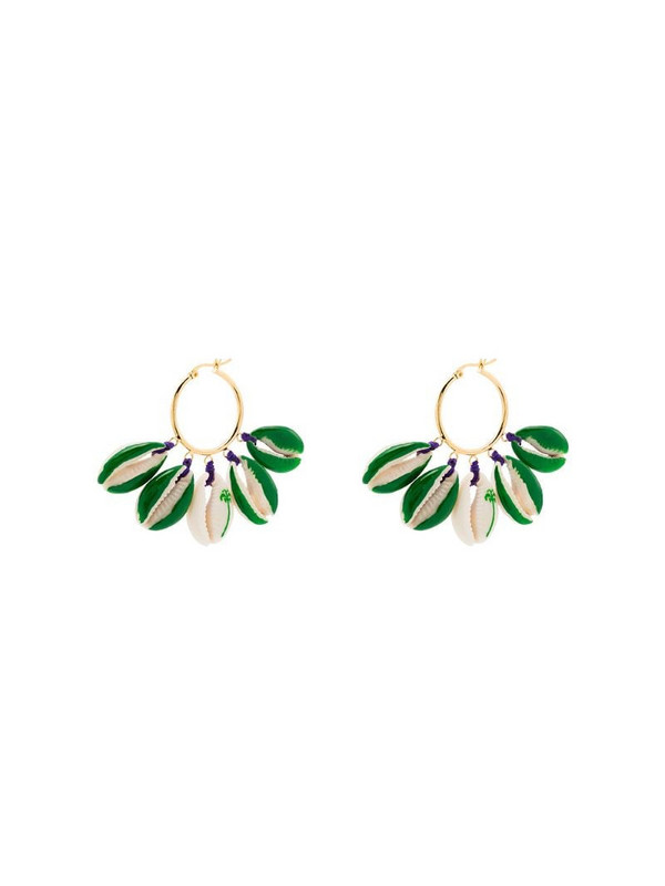 Venessa Arizaga gold-plated palm tree-print shell earrings in green