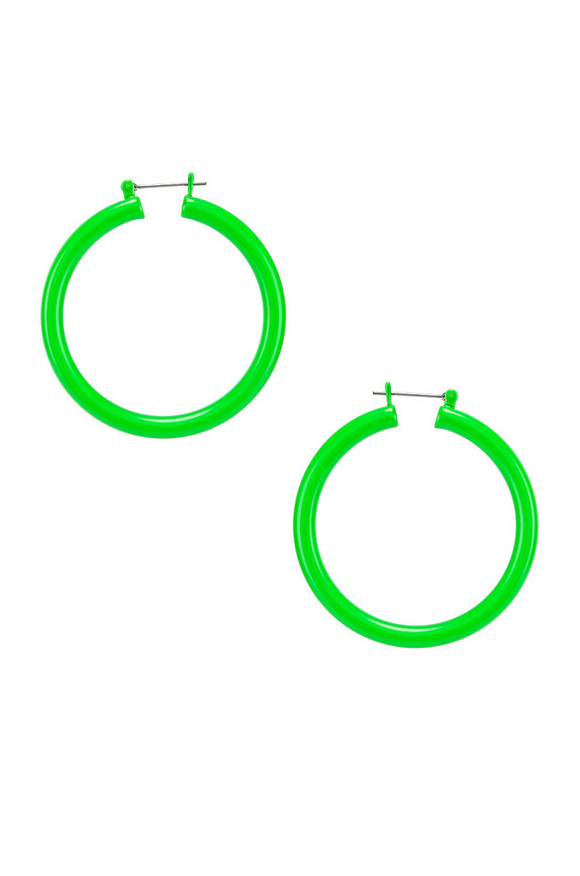 Luv AJ Rainbow Amalfi Hoop Earrings in green