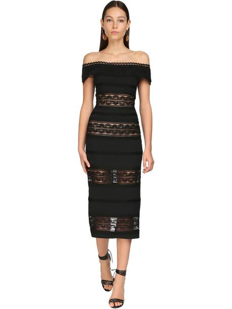ZUHAIR MURAD Lace & Cady Midi Dress in black