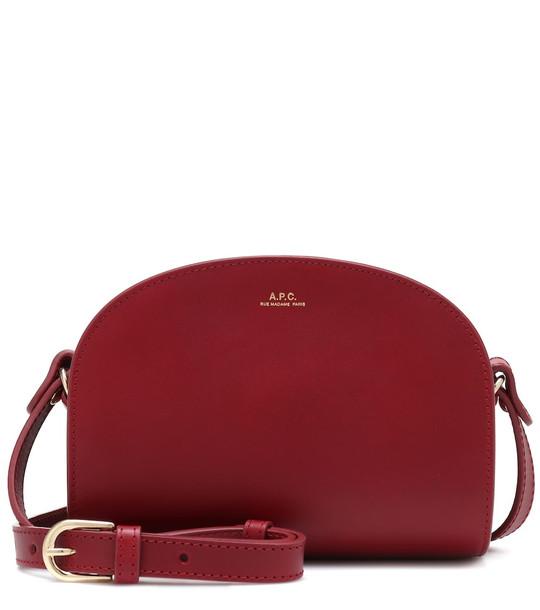 A.P.C. Demi-Lune Mini leather shoulder bag in red