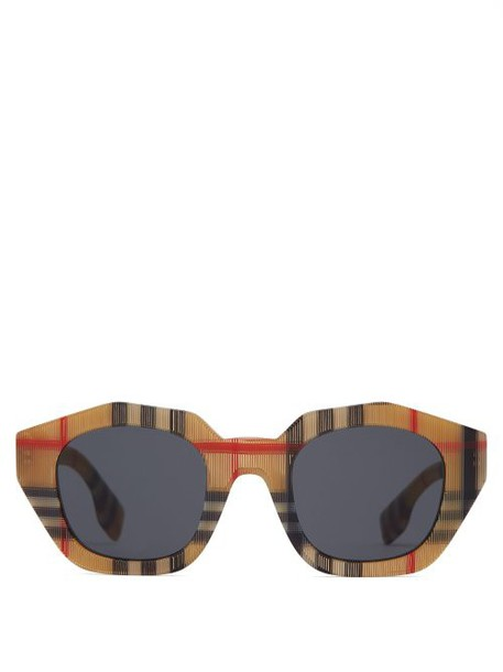 Burberry - Vintage Checked Angular Oval Sunglasses - Womens - Beige
