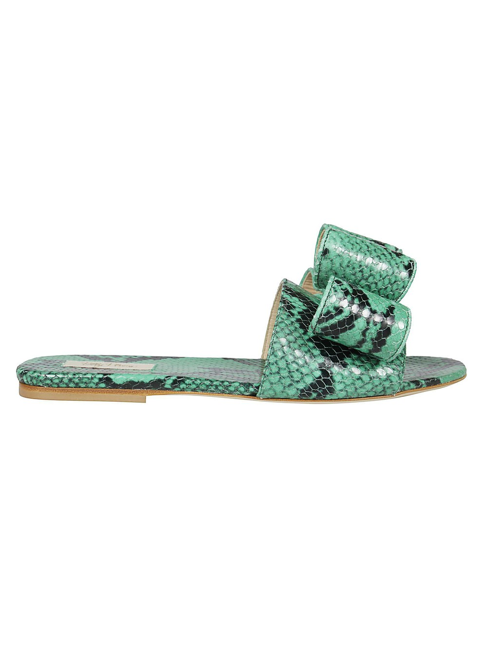 Polly Plume Lola Bow Flat Sandals in green