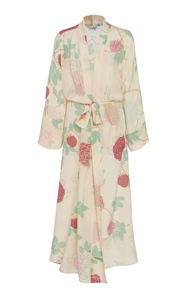 Bernadette Antwerp Peignoir Silk Crepe De Chine Maxi Dress Size: 34 in neutral