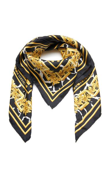 Versace Printed Silk Scarf in black