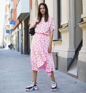 shoes,sneakers,balenciaga,midi dress,pink dress,polka dots,black bag