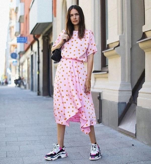 shoes sneakers balenciaga midi dress pink dress polka dots black bag