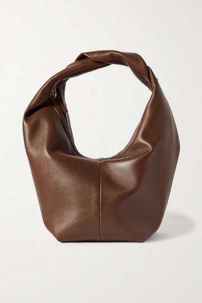 VALENTINO - Valentino Garavani Roman Stud Large Leather Shoulder Bag - Brown