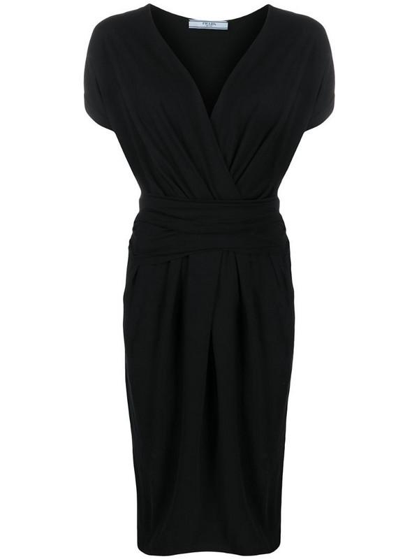 Prada Pre-Owned 1990s gathered knee-length dress in black