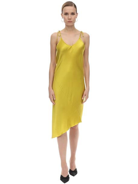 MARQUES'ALMEIDA Satin Twisted Seam Slip Midi Dress in yellow