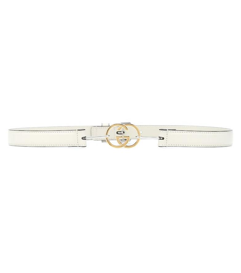 Gucci Interlocking G leather belt in white