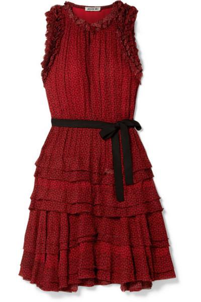 Jason Wu - Tiered Ruffled Printed Chiffon Mini Dress in red