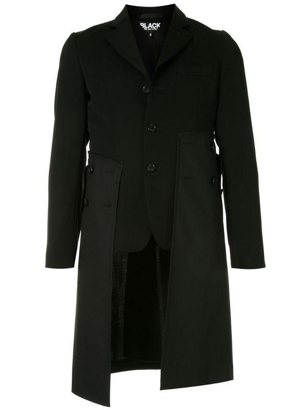 Black Comme Des Garçons layered single breasted coat in black