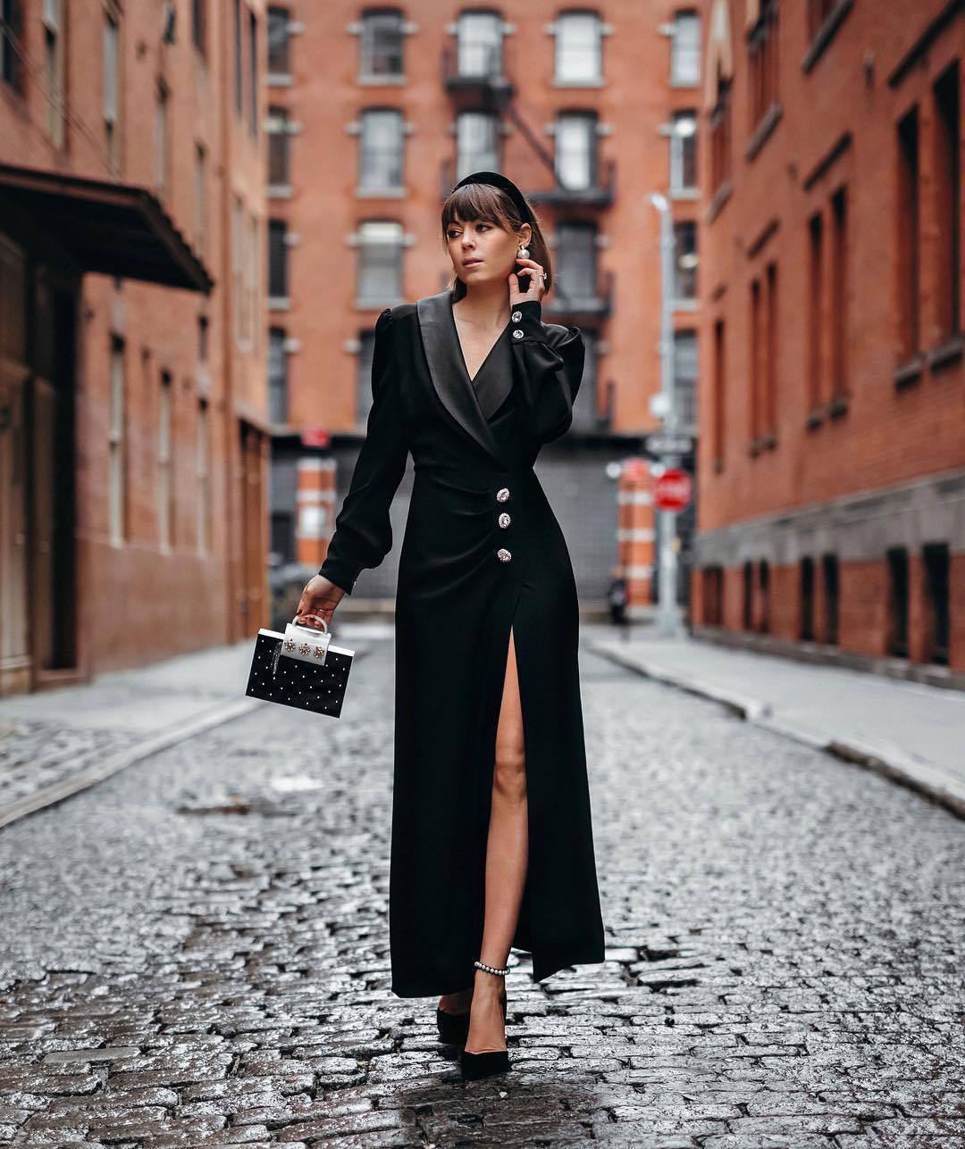 dress maxi dress black dress slit dress long sleeve dress v neck dress black bag handbag pumps