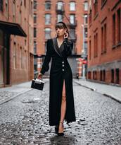 dress,maxi dress,black dress,slit dress,long sleeve dress,v neck dress,black bag,handbag,pumps