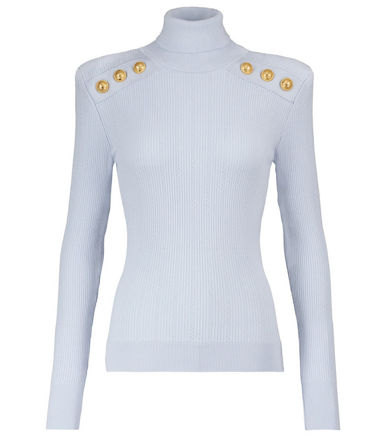 Balmain Embellished turtleneck sweater in blue
