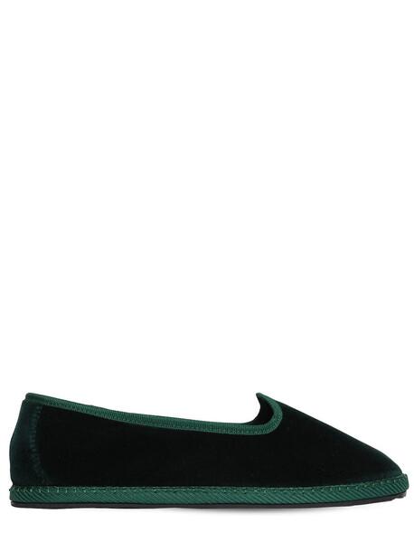 VIBI VENEZIA 10mm Laguna Velvet Loafers in green