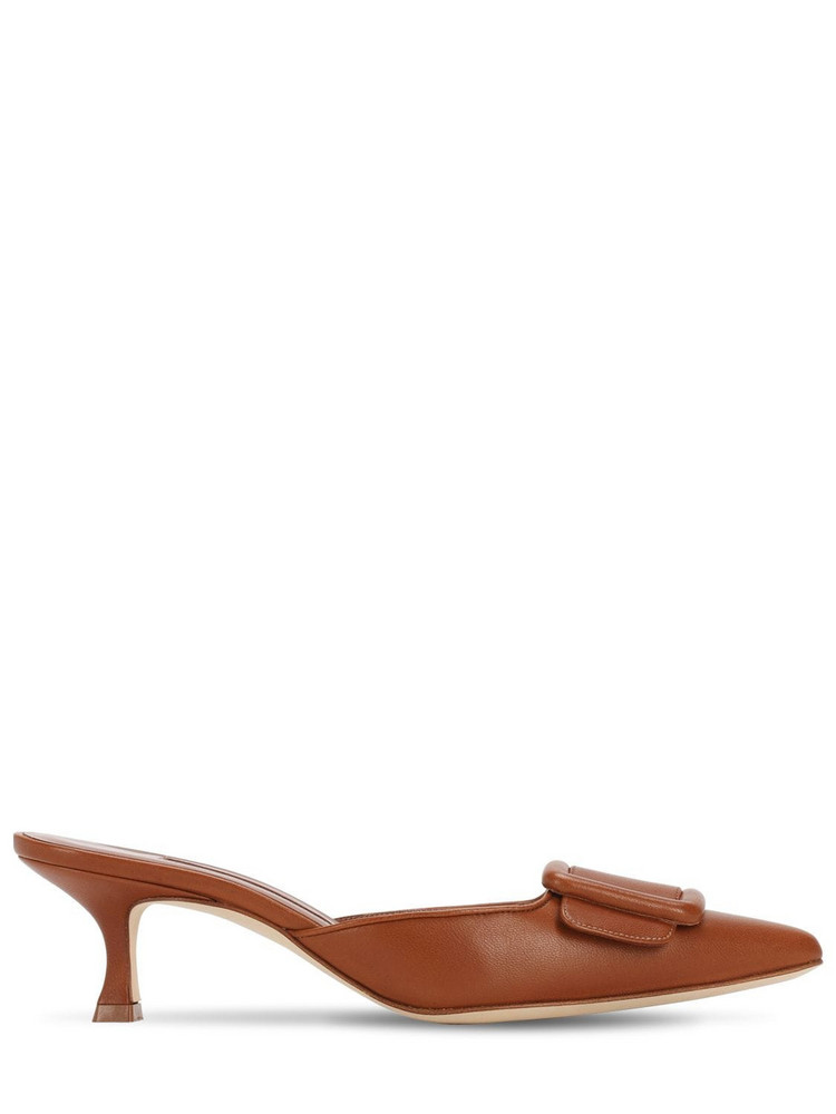 MANOLO BLAHNIK 50mm Maysale Nappa Leather Mules in tan