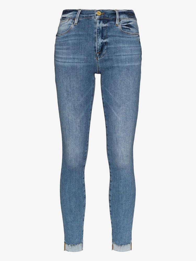 FRAME Le High frayed stepped hem skinny jeans in blue