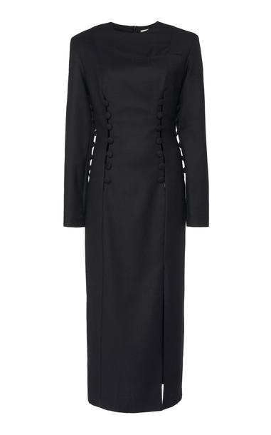 MATÉRIEL Button Slit Wool Dress in black