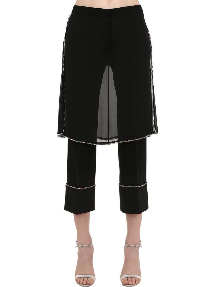 MARCO DE VINCENZO Embellished Pants W/ Skirt Panels in black