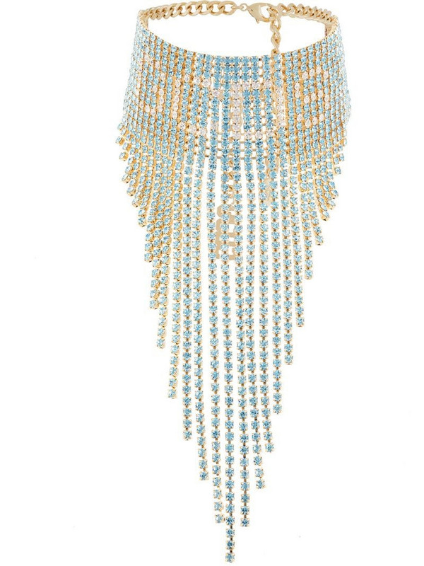 Gcds fringed-crystal choker in blue