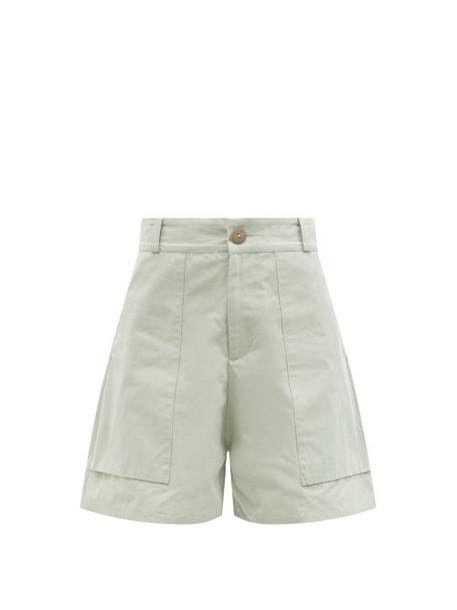 Toogood - The Machinist Cotton-blend Poplin Shorts - Womens - Light Green