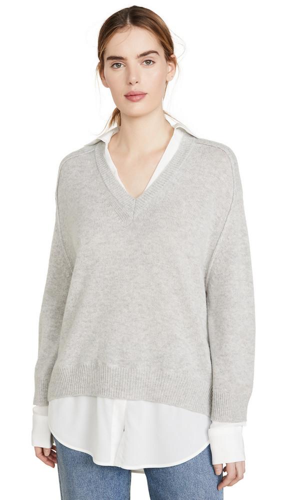 Brochu Walker Layer V Looker Sweater in grey / white