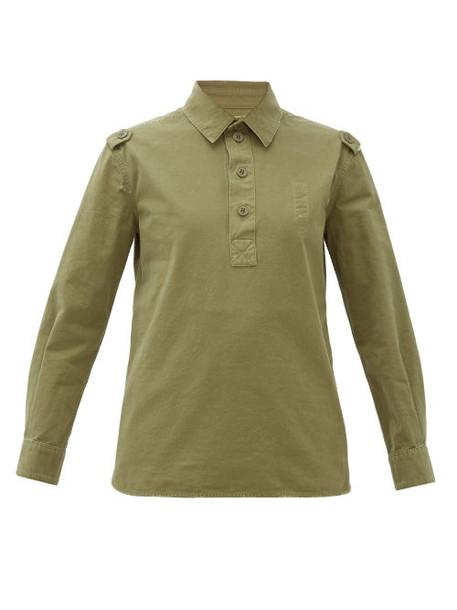 Saint Laurent - Half-button Distressed Cotton Work Shirt - Womens - Khaki