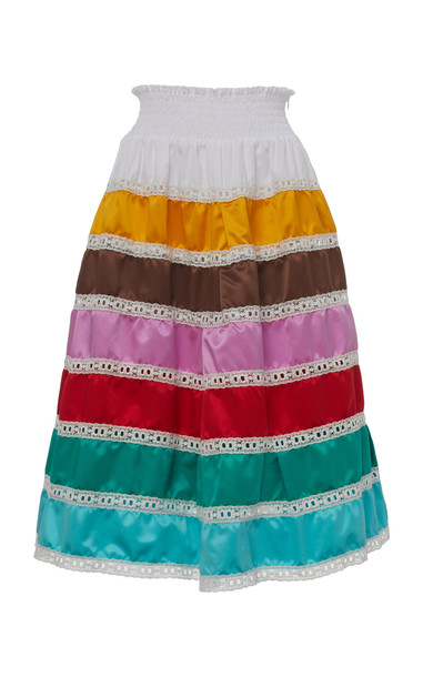 Prada Tiered Silk Skirt in multi