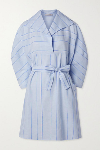 palmer/harding palmer//harding - Belted Striped Cotton And Linen-blend Mini Dress - Light blue