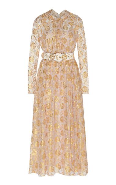 Emilia Wickstead Thelma Metallic Maxi Dress in gold