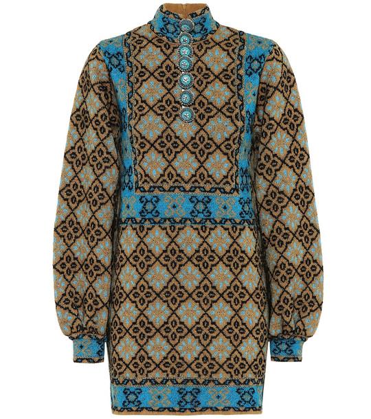 Gucci Lamé GG wool-blend minidress in brown