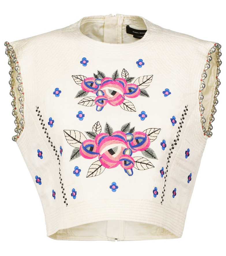 Isabel Marant Clarisse embroidered silk top
