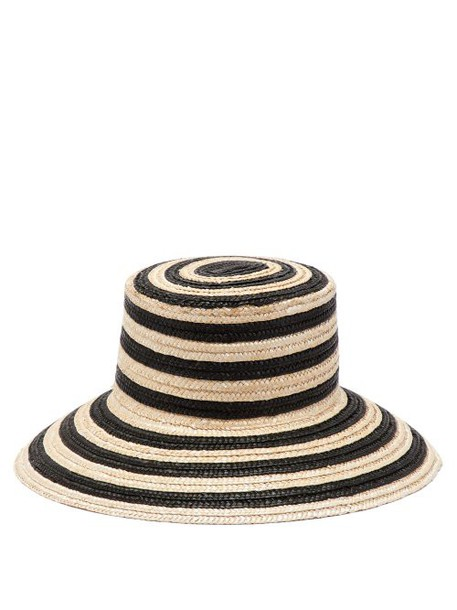 Max Mara - Stripe Straw Bucket Hat - Womens - Black White