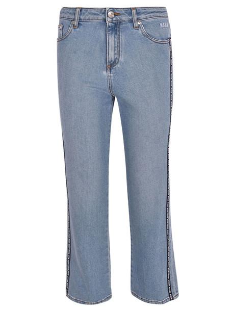 Msgm Logo Band Cropped Jeans in denim / denim