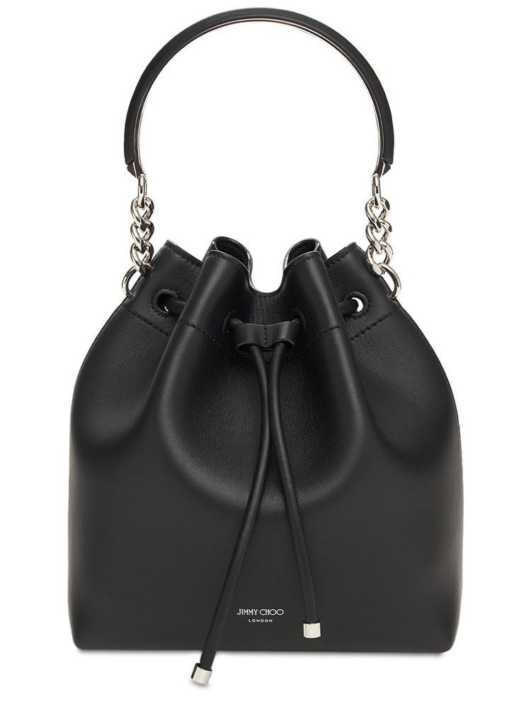 JIMMY CHOO Bon Bon Leather Bucket Bag in black / silver