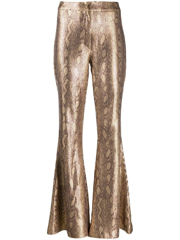 In The Mood For Love snakeskin sprint flared trousers in gold