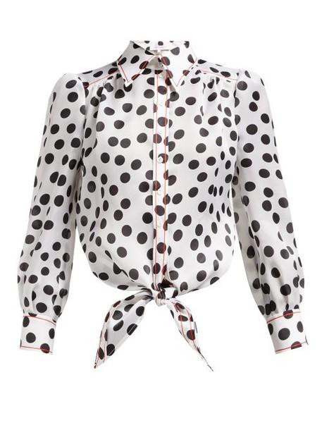 Carolina Herrera - Polka Dot Print Silk Organza Blouse - Womens - White Black