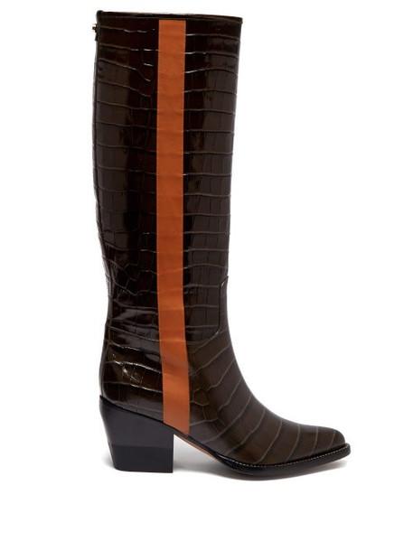 high knee high knee high boots leather khaki crocodile shoes