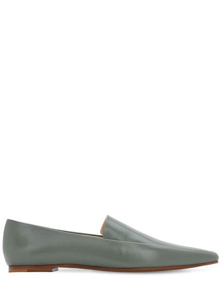 THE ROW 10mm Minimal Leather Loafers in green