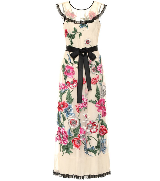 REDValentino Embroidered floral gown in beige