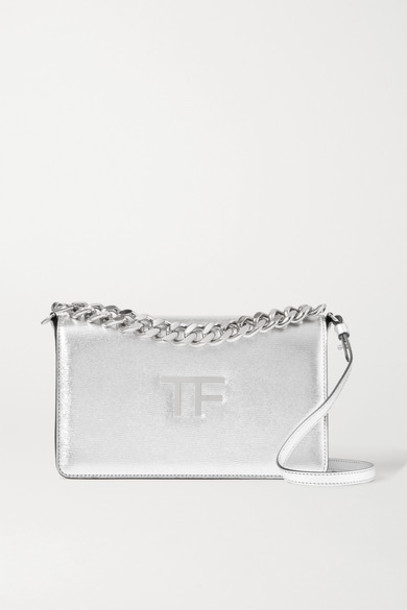TOM FORD - Tf Chain Medium Metallic Textured-leather Shoulder Bag - Silver