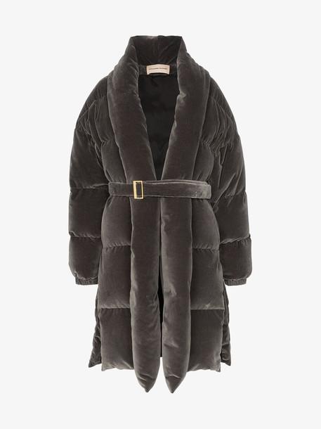 Alexandre Vauthier Belted padded velvet coat in grey