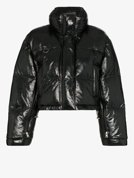 Scala shiny leather puffer jacket in black