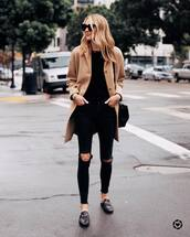 jeans,black skinny jeans,high waisted jeans,mules,black loafers,beige coat,black sweater,black bag